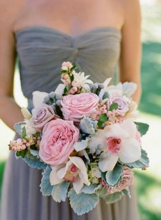 Pink and Gray Orchid and Dusty Miller Bouquet | photography by http://carrie-patterson.squarespace.com/