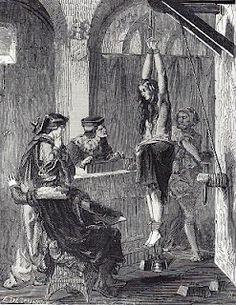 Engraving, witchcraft interrogation