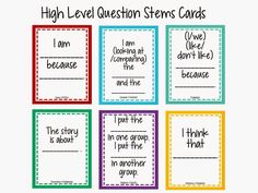 technology rocks. seriously.: High Level Question Stems Cards