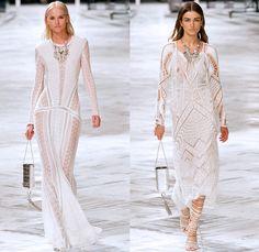 Roberto Cavalli 2014 Spring Summer Womens Runway Collection - Milan Fashion Week - Old Hollywood Glamour Multi-Panel Denim Jeans Snake Repti...