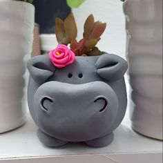 Tammi added a photo of their purchase Cardboard Crafts, Clay Crafts, Ceramic Animals, Ceramic Art, Small Succulents, Succulent Planters, Mini Vasos, Pot Plante, Dog Mom Gifts