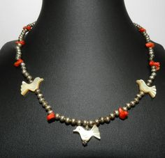 Vintage Heishi Bird Fetish 3 Carved Birds Coral Native American Vintage Sterling Necklace by JeweledLuv on Etsy