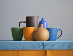 View this item and discover similar for sale at - Still life paintings by Janet Rickus focus on creative juxtapositions of colorful porcelain dishes and vibrant fruits and other objects. Still Life 2, Still Life Drawing, Still Life Oil Painting, Be Still, Basic Drawing, Drawing Lessons, Still Life Artists, Nature Paintings, Art Paintings