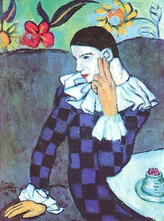 picasso - arlequin accoudé, 1901 (met, ny)