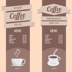 Menus à café Set Vecteur gratuit