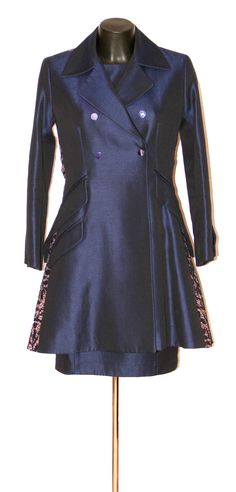 CHRISTIAN DIOR Ensemble Christian Dior, Chef D Oeuvre, Coat, Jackets, Fashion, Navy Lace, Mantle, Lush, Down Jackets