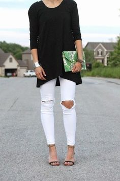 Love this long black tunic from Elegantees- The Kilee. Over distressed white denim.