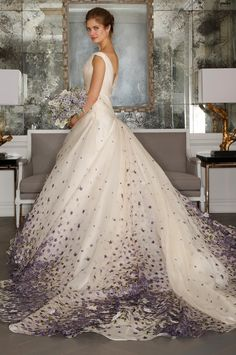 Embellished wedding gown train. Romona Keveza bridal Spring 2017.