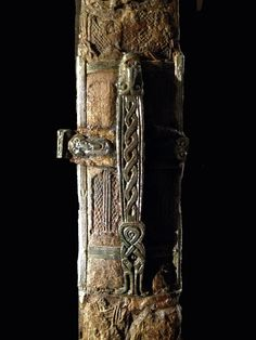 Decorated metal midsection of the sword sheath placed with burial 7 at Valsgärde.