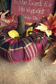 flannel pumpkin, crafts, repurposing upcycling, seasonal holiday d cor