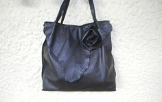 Slouchy Navy Blue leather bagleather tote by HenandTillLeather, £119.61