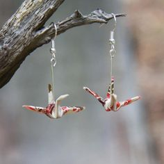 Origami Earrings - Ivory with Pink and Brown | NOOKROAD AUD $20.00