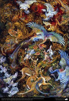Gloria de la naturaleza. 1983 Obras maestras de la miniatura persa; Artista Profesor Mahmud Farshchian, Irán | Galería de Arte Islámico y Fotografía