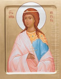 A hand painted icon of the Holy Martyr Anastasia. Learn more: https://catalog.obitel-minsk.com/painted-icon-st-anastasia-imp030152.html #CatalogOfGoodDeeds #OrthodoxIcon