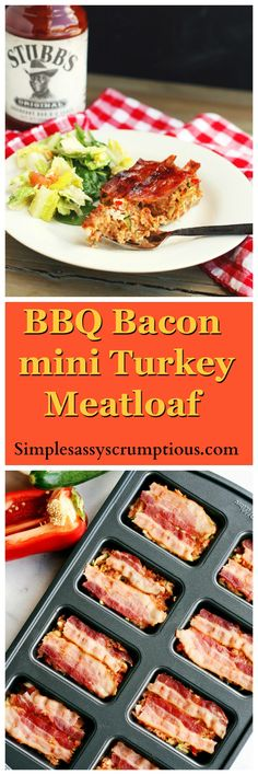 BBQ Bacon mini turkey meatloaves, a high protein low carb meal. You will never know there is a whole serving of veggie goodness baked in! Entree Recipes, Veg Recipes, Turkey Recipes, Easy Dinner Recipes, Turkey Meals, Chicken Recipes, Mini Turkey Meatloaf, Duck Recipes, Bacon Recipes