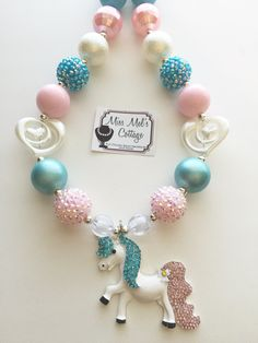 Magical Unicorn Chunky Bead Necklace by MissMelsCottage on Etsy