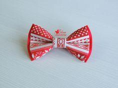 Купить Бабочка галстук для папы/мамы и ребенка новогодние, хлопок - коралловый, орнамент, красный, белый, зима