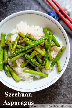 Szechuan Asparagus with Ma Po Sauce--asparagus quickly cooked with an easy spicy sauce, great for a Chinese side dish at home.