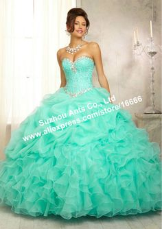 2014 Free Shipping New Beaded Crystal Corset Masquerade Ball Gown Dress Quinceanera Dress Green Turquiose PM570 $199.97