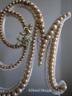 "Monogrammed Custom Vintage Pearl Wedding Cake Topper & Display: Antique Bridal Accessories ""417 Bride"". $91.99, via Etsy."