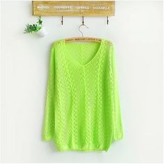 Small Twist V-neck Long-sleeved Hollow Smock Women Sweater