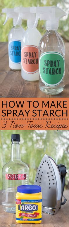 Learn how to make liquid spray starch. 3 ways to make non-toxic spray starch #naturalhome #ecofriendly #toxicfreehome