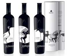 Sophisticated black & white illustration for wine bottles. Standing in a row, the bottles seem to have labels that complement & complete each other.