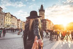 Loving Couple in Autumn Prague Follow Me To Pose Free Image Download
