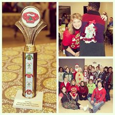 """To the victor of the Quality Department's Annual Ugly Sweater Contest goes the trophy!Needing ideas for a FUN Ugly Christmas Sweater Party check out """"The How to Party In An Ugly Christmas Sweater"""" at Amazon.com"""