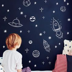 Space Wall Decals For Boy Room Outer Space Nursery Wall Sticker Decor Rocket Ship Astronaut Vinyl Decal Planet Decor Kids Planet Decor, Outer Space Bedroom, Space Theme Bedroom, Nursery Decor, Bedroom Decor, Nursery Boy, Bedroom Ideas, Bedroom Wall, Bedroom Pictures