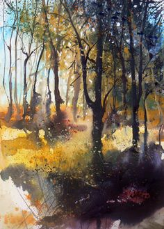 Pete gilbert new forest artist gallery watercolor / watermed Watercolor Trees, Watercolor Artists, Watercolor Techniques, Watercolor Landscape, Abstract Watercolor, Abstract Landscape, Watercolor Illustration, Landscape Paintings, Watercolor Paintings