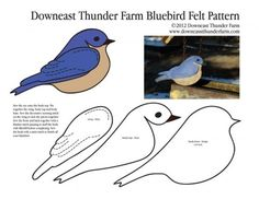Bluebird Felt Ornament ~ this site has many bird patterns ~ would be great to create a 'book' for a toddler Felt Patterns, Bird Patterns, Applique Patterns, Applique Templates, Bird Ornaments, Felt Christmas Ornaments, Bird Crafts, Felt Crafts, Felt Birds