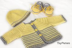 Crocheted baby boy sweater beanie and shoes by TinyFlutters