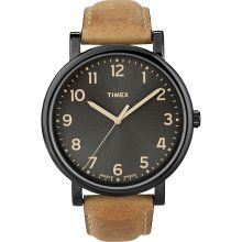 Timex 'Easy Reader' Black Case Leather Strap Watch Brown One Size