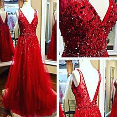 Beaded Red Prom Dress, V-neck Tulle Prom Dress, Generous Long Party Dress Prom Dresses For Teens, A Line Prom Dresses, Tulle Prom Dress, Formal Dresses For Women, Cheap Prom Dresses, Modest Dresses, Tulle Lace, Long Dresses, Dress Formal