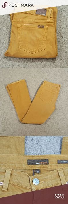 Trendy Hispter FOSSIL Brand Mustard Yellow Jeans Trendy jeans in a mustard.. dijon mustard... color. Super flattering on the tush and way comfortable! Fossil Jeans Boot Cut