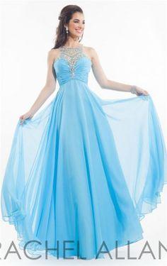 Long Aqua Rachel Allan 6980 Prom Dresses with Beads 2015