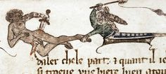 Woman beating man, who stabs himself.MS. Douce 215, Lancelot cycle, c. 1300. (via)