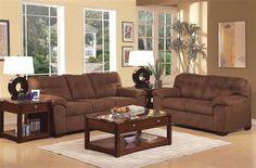 Aislin Espresso Fabric Living Room Set