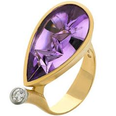 Atelier Munsteiner Icicle-Cut Amethyst Diamond Gold Ring | From a unique collection of vintage cocktail rings at https://www.1stdibs.com/jewelry/rings/cocktail-rings/
