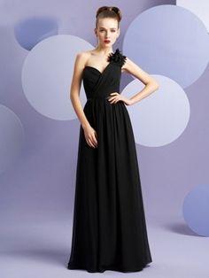 A-line One Shoulder Hand-Made Flower Sleeveless Floor-length Chiffon Bridesmaid Dresses