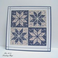 handmade card: Star Quilt card by bearpaw ... four die cut patched stars ... luv the complementary papers in light and dark blues ... Wplus9 dies ... More