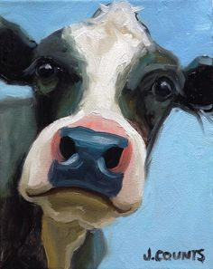 Cute Paintings On Canvas Cow Farm Paintings, Cute Paintings, Animal Paintings, Animal Drawings, Art Drawings, Cow Paintings On Canvas, Diy Canvas Art, Small Canvas Art, Farm Art