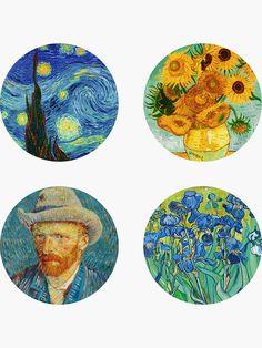 Tumblr Stickers, Cool Stickers, Printable Stickers, Van Gogh Arte, Cd Art, Art Nouveau Design, Journal Stickers, Aesthetic Stickers, Vincent Van Gogh