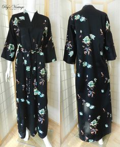 Long Black Satin Asian Floral Robe Vintage by PegsVintageShop
