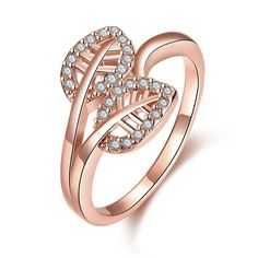 Hot New Fashion   gold color  Engagement rings insets two leaves anel de ouro collier plastron femme SKGR083