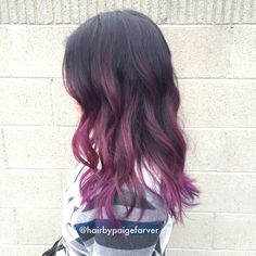 Balayage ombre with purple wild orchid by Paige Farver Instagram: @hairbypaigefarver