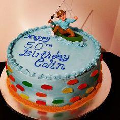 Fishermen themed 50th Birthday Cake. - Fishermen themed 50th Birthday Cake. Chocolate cake, cherry filling, chocolate buttercream and covered with blue vanilla buttercream and Swedish fish.