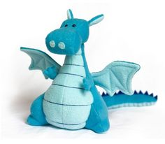 Too cute!!! Stuffed plush dragon in blue by fabrickitchen on Etsy, $65.00