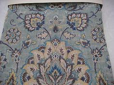 Cynthia Rowley Yellow Jacobean Floral Teal Base Window Curtain Panels 52x96 PAIR